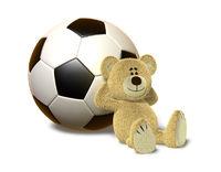 Nhi Bear leans against Soccer Ball