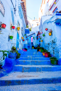 Blue street in Chefchaouen, Morocco