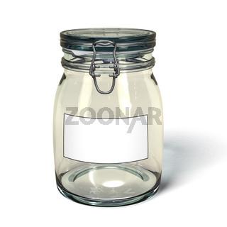 Leeres Einweckglas mit Etikett