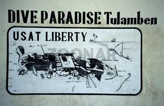 Wrack Liberty in Tulamben, Bali, Indonesien