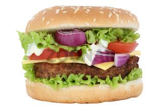Cheeseburger Hamburger Burger Käse Tomaten Salat Freisteller freigestellt isoliert