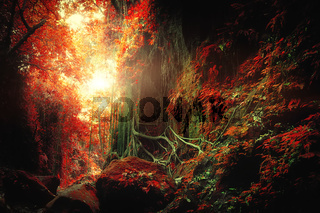 Fantasy tropical jungle forest in surreal colors. Concept landscape