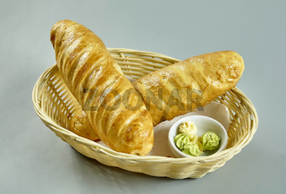 Bread in a basket isolated