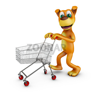 Dog with a shopping cart