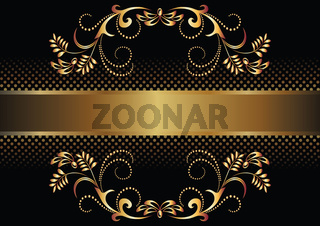 Black background with luxurious golden ornament