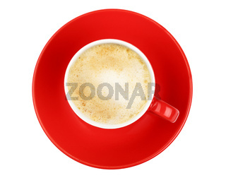 Latte cappuccino coffee red cup isolated on white