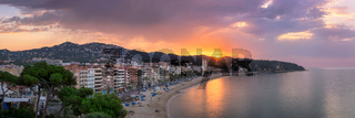 Panorama of Lloret de Mar in the Morning, Costa Brava, Catalonia, Spain