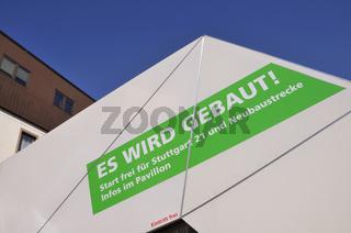 Informationszelt vor dem Hauptbahnhof in Ulm, Werbung für Stuttgart 21, Baden-Württemberg, Deutschland, Europa