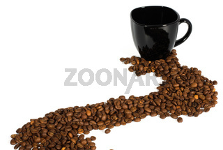 black cup and coffee beans isolated on white background