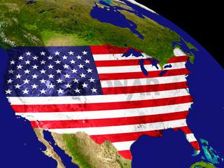 USA with flag on Earth