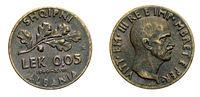 five 5 cents LEK Albania Colony acmonital Coin 1940 Vittorio Emanuele III Kingdom of Italy,World war II