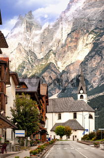 Alpine village in Dolomites Alps, Tirol, Italy