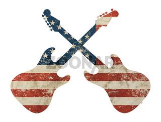 Guitar shaped old grunge vintage American US flag