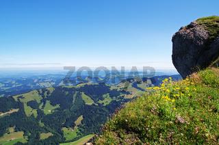 Aussicht von der Nagelfluhkette auf das Alpenvorland