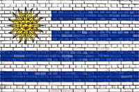 flag of Uruguay painted on brick wall