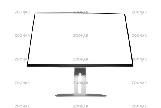 Computer display with blank white screen. Front-low view.
