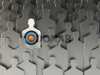 Backgound from shapes of people with target one. Concept for human resources and recruitment.