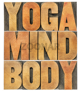 yoga, mind, body word abstract