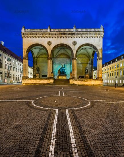 Odeonplatz and Feldherrnhalle in the Evening, Munich, Bavaria, Germany