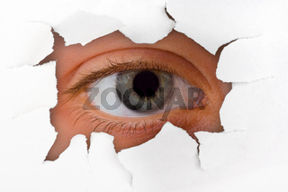 Eye looking through hole on paper