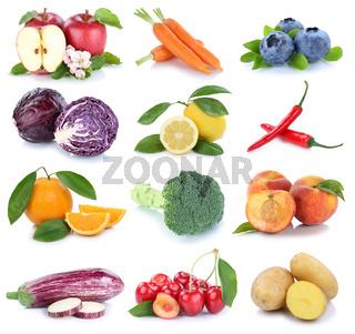 Obst und Gemüse Früchte Apfel Orange Karotten Möhren Kirschen frische Collage Freisteller freigestellt isoliert