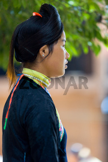 Biasha Miao Ethnic Minority Woman Bun Hairstyle