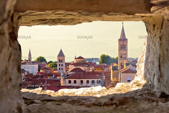 Zadar aerial view through stone window