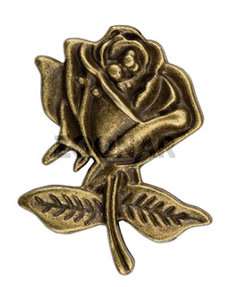 Filigree iin the form of a rose flower, decorative element for manual work, isolated on white, with clipping path