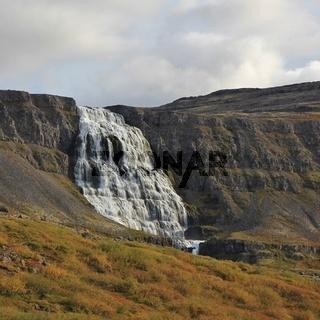 Majestic waterfall Dynjandi, also named Fjalfoss. Iceland.