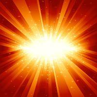 Red golden light burst with stars