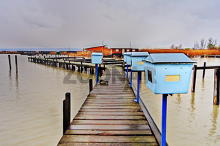 Steg am Neusiedlersee, Burgenland, Austria  - footbridge on the Neusiedlersee in Burgenland, Austria