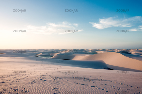 Lencois Maranhenses National Park, Brazil, low, flat, flooded land, overlaid with large, discrete sand dunes with blue and green lagoons