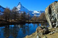 Am Grindjesee, Matterhorn hinten, Zermatt, Wallis, Schweiz