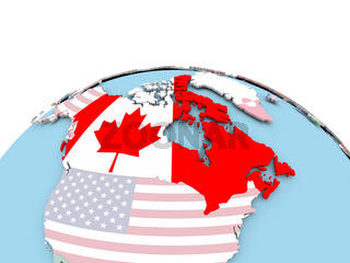 Flag of Canada on bright globe