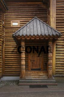 Wooden door with canopy