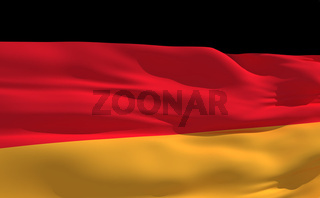Fluttering flag of Germany on the wind