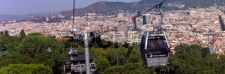 funicular against Barcelona city and cable car Aerial view