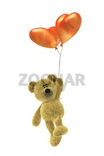 Nhi-Bär mit Herz-Luftballon fliegt