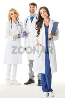 Portrait of doctors on white