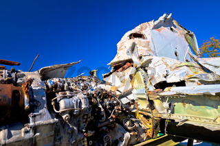 Fighter jet airplane wreck view