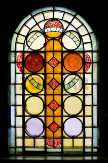 Stained glass window in church
