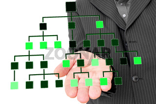 Businessman holding by hand Hierarchical structure