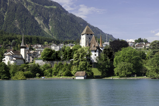 Spiez with medieval castle at lake Thun