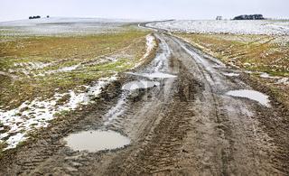 Feldweg im Winter