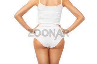 close up of woman body in white underwear