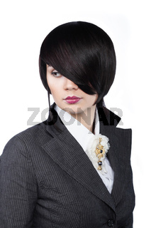 Young woman with fashion haircut, on white