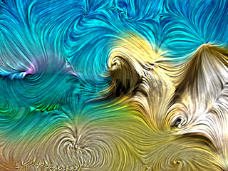 Paint swirls abstract background in summer beach colors. Digital color on the subject of art, design, and creativity.