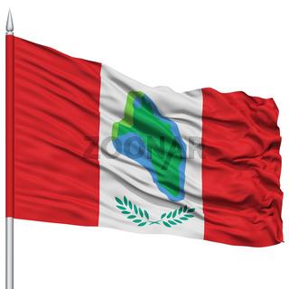 Cumberland Head City Flag on Flagpole, USA