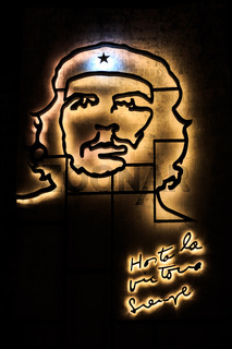 Shape of Che Guevara on a building