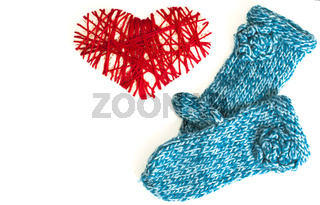 Mittens and woven red heart valentine card